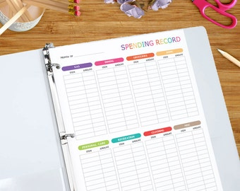 Spending Record - Printable Spending Tracker - Budgeting Expense Log, Spending Tracker, Money Management Printable 8.5 x 11 inches