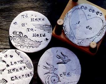 Wedding Art Coasters w/ madrone holder -custom made to order