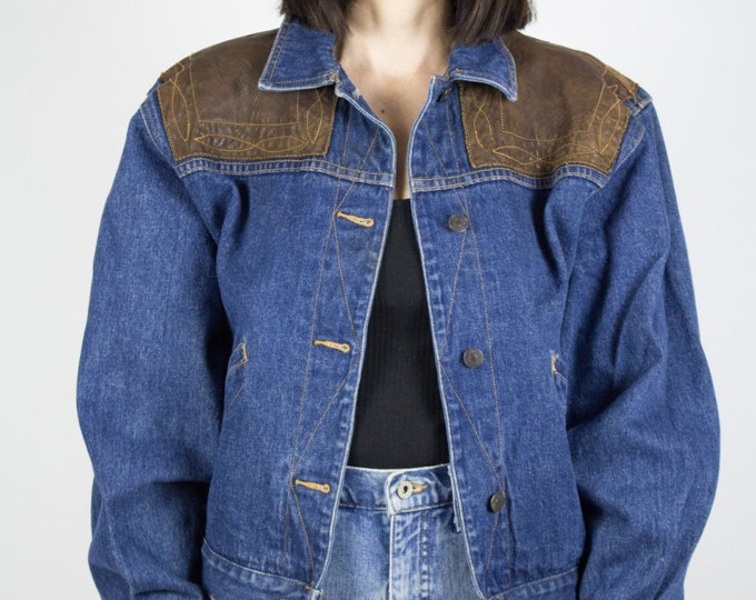 Vintage Denim Jacket | 80s Jean Jacket with Leather Shoulders | Medium