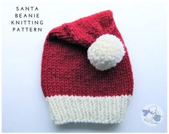 Santa Beanie Knitting Pattern / Santa Hat Pattern / Christmas Knitting Pattern / Knitting Pattern / Santa Knitting Pattern