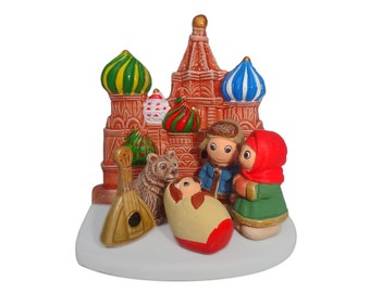 "Russian Nativity Scene - Handmade in Clay - 1 block -  3.15""X2.15""X3.15"" high"