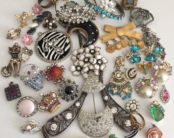 Rhinestone Broken Jewelry Lot Vintage Repair Craft Repurpose Harvest Salvage Costume Jewelry