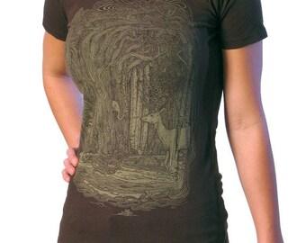 Tangled Forest Shirt - Women's T-shirt - Surreal Art - Deer Shirt - Surrealist Art - Unique Gifts for Women