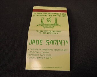 Jade Gardens * Niles Il * Vintage Old Collectible * Match Book Cover * Restaurant *