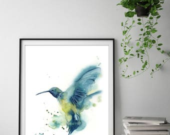 Hummingbird Art Print, Watercolor Painting of Bird, Watercolor Print, Bird Illustration Wall Art, bird art, print of bird
