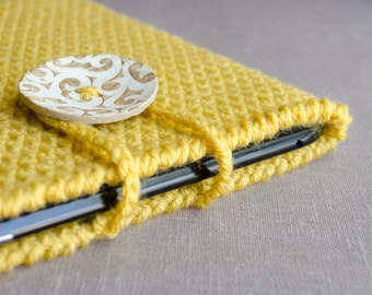 Yellow iPad Case, Crochet iPad Cover, iPad Case, iPad Sleeve, Tablet Case, Tablet Sleeve, Tablet Cover, Mustard Yellow Ready To Ship