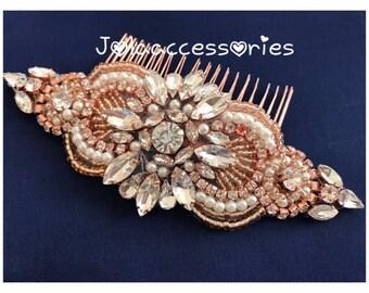 rose gold bridal crystal pearl hair comb hair jewelry rose gold wedding hair piece bridesmaid comb hair piece bridal jewelry rhinestone comb