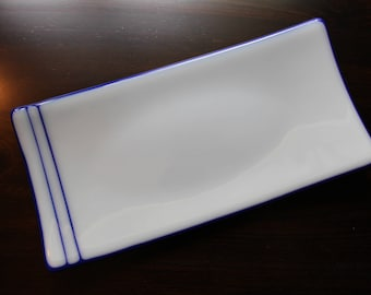 Blue and white rectangular 5 inch by 10 inch 5x10 fused glass sushi dish or decorative plate