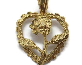 Flower Heart Pendant Charm. 14k Yellow Gold!!