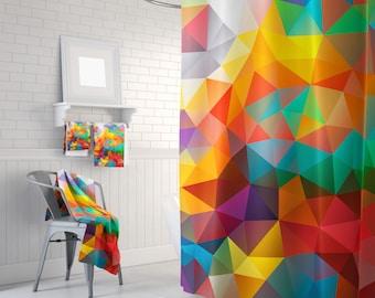Shower Curtain Art Curtain Triangles Abstract Curtain Mosaic Pattern Curtain Polygon Flowers Geometric Curtain 60x72 inch 71x74 inch 66x72