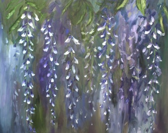 """Wisteria Oil Painting Abstract Art Original // """"Wispy"""" 24 x 20"""" Canvas"""