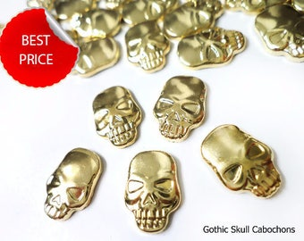 Gold Gothic Skull Studs Rivets, Gold Flatback Cabochons for Hot Fix Iron On
