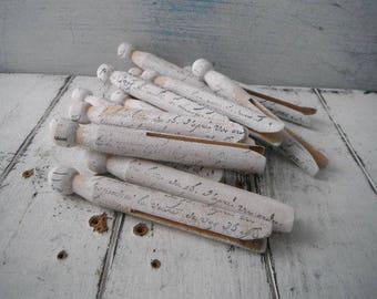 français script patiné chevilles vieux façonné chevilles fabriquées à la main primitive piquets piquets estampillé blanc rustique dolly chevilles minable de maisonnette chic 6 PC