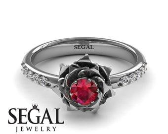 Ruby Engagement Ring White Gold Rose Ring Art Nouveau Unique Ring Flower Engagement Ring White Gold Ruby Engagement Ring - Elena