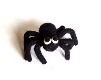 Needle felted Black Spider Brooch