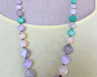 Multi Color Graduated Resin Bead Necklace