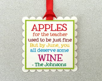 Wine bottle tags / Teacher appreciation tags / teacher wine gift tags / wine bottle gift tags/ teacher favor tags/ funny teacher tags