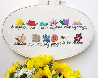 Flower embroidery hoop. Gift for her. Handmade gift. Floral embroidery