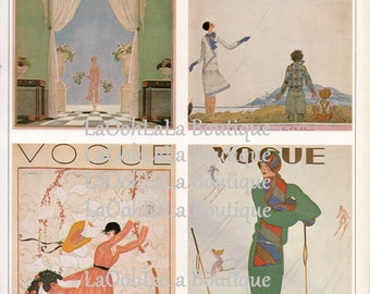 1928 Vogue Digital Collage Sheet Fashion Covers Print Set of 4 Pastel Sporty Dress Outerwear Couture Images Printable ATC Postcards Download