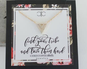 find your tribe and love them hard...Simple Pave CZ Triangle Friendship Necklace