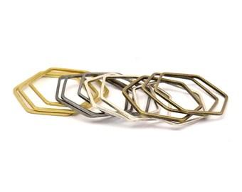 Hexagon Ring Charm, 24 Brass-silver-gunmeal-antique Brass Hexagon Rings (25x1mm) Bs 1227