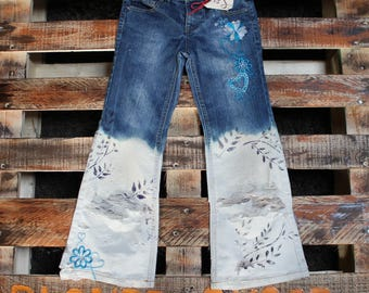 Up-cycled Distressed Hand Painted Jeans  - Faded Glory Stretch  Girls 6