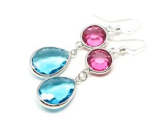 Teal and pink dew drop earrings, drop earrings, bridesmaid earrings, pink earrings, bride jewelry, glass drop earrings, pink and teal