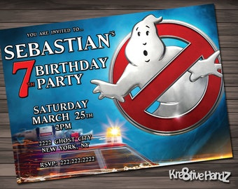 Ghostbusters Birthday Party Invitation customized printable invite for boys or girl of any age + Free Thank You Card
