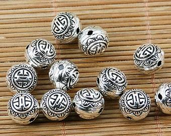12pcs tibetan silver 10mm round pattern delicate spacer bead EF1775