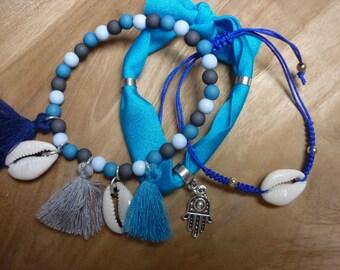Ibiza summer beaded bracelets set with shells and tassels ibiza elastic blue