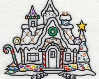 Gingerbread House Version D Embroidered Flour Sack Hand/Dish Towel