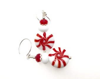 Peppermint Earrings, Christmas Earrings, Lampwork Glass Bead Earrings, Red White Earrings, Drop Earrings, Lampwork Jewelry, Beaded Earrings