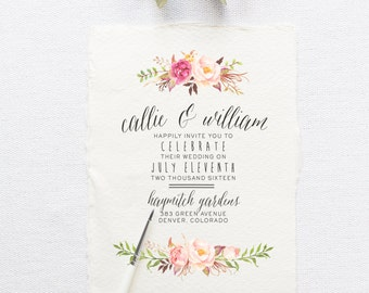 Custom wedding invitations stationery by splashofsilver on etsy bohemian wedding invitation suite diy rustic chic calligraphy deckled edge solutioingenieria Image collections