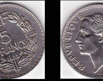 piece 5-franc - LAVRILLIER, 1933 - (A46)