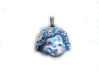 handmade Focal Bead, Handmade Face bead, OOAK bead,  loose  Pendant bead  -   blue bead -  #  137