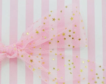 55mm Wide Kawaii Pastel Pink Gold or Silver Star Tulle Ribbon - 5 yards