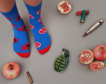 Grenade / pomegranate mismatched socks | men socks | colorful socks | cool socks | women socks | crazy socks | patterned casual socks