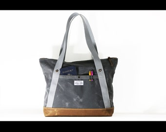 Waxed Canvas Zippered tote bag - made in USA - carry all - handmade - ZTB001