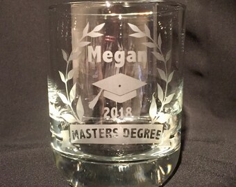 Congratulations on your master's degree Personalized and dated Etched wine glass, pint glass, 15.5oz beer mug or 25.5oz beer mug