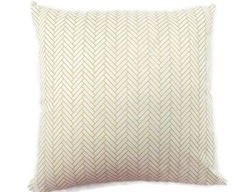 White and Gold Herringbone-Invisible Zipper Pillow Cover-Bedroom-Living Room-Party-RV-Nursery-Couch-Custom Pillow Cover