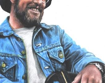 Drawing Print of Jaws' Matt Hooper (Richard Dreyfuss) Colored Pencil Drawing