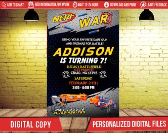Nerf Nerf Invitation Nerf Party Nerf Birthday Invitations Nerf Invitation Nerf Birthday Nerf Gun Invitation Nerf Gun Birthday Invitation FD