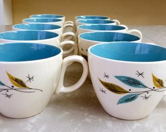 10pcs Retro Ceramic Cups with Leaves & Starbursts
