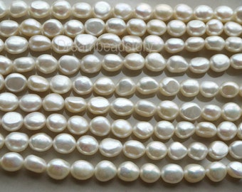 7.5-8mm Freshwater Pearl Nugget Beads, Natural Pearl Nuggets, Pearl Strands, Irregular Beads for Pearl Necklace Bracelet Earrings Making