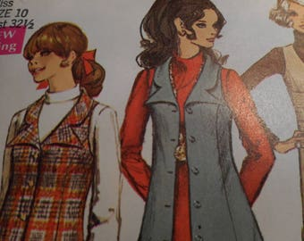 Vintage 1960's Simplicity 7864 Jumper Sewing Pattern Size 10 Bust 32.5