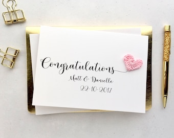 Congratulations wedding card - Personalised wedding card - Crochet heart card - Wedding keepsake card - White card