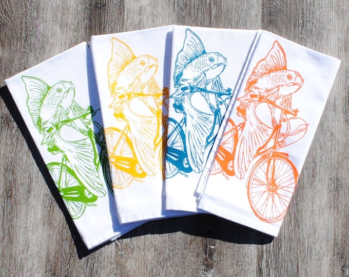Kitchen Napkins Set - Screen Printed Napkins Set of Four- Reusable - Cotton - Orange Yellow Teal Green Fish on a Vintage Bicycle