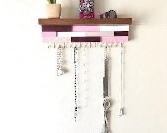 Jewelry organizer, jewelry holder, necklace organizer, necklace holder, jewelry wall organizer, wall art, wood wall art, jewelry shelf