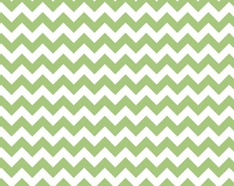Riley Blake Small Green Color Chevron Fabric- 1/2 yard