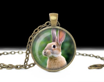 Rabbit Jewelry Rabbit Necklace Rabbit Photo Pendant Easter Jewelry